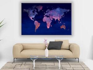 Cuadro Mapa del Mundo modelo blu navy