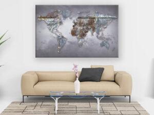 Cuadro mapa del mundo Gioiello D'Argento