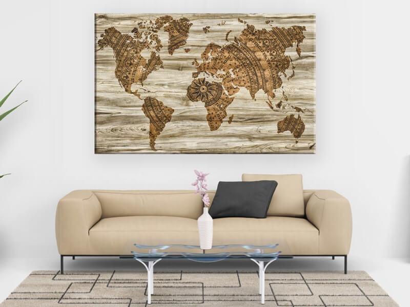 Cuadro mapa del mundo modelo Bussola