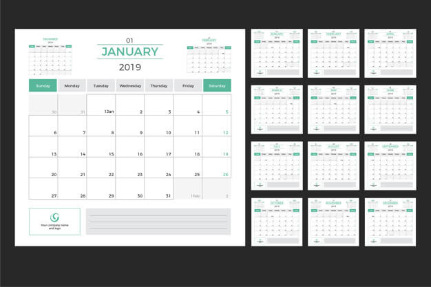 Calendario planificador mensual editable