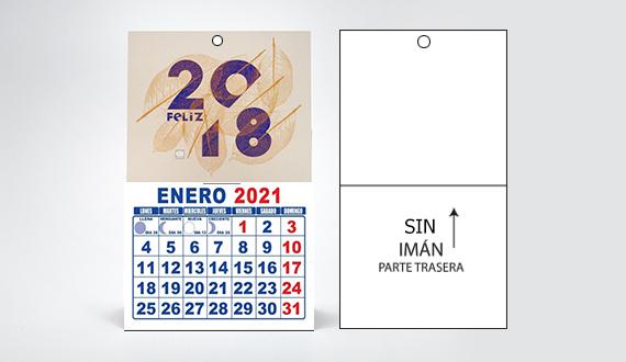 mini calendario SIN imán